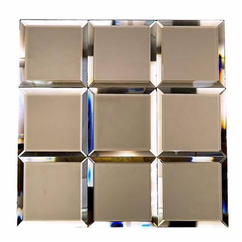 Mirror Glass Bronze 4X4 Beveled Frosted