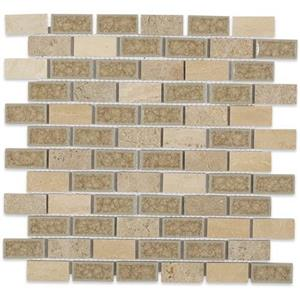 GlassTile Blends-ArtGlass ARTGBRKCNTY1X2 countryTravertine1x2