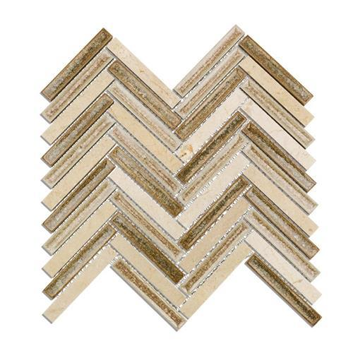 Blends - Art Glass  Herringbone Crema Tan