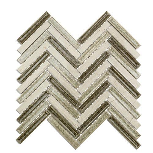 Blends - Art Glass  Herringbone Wooden Moss