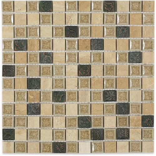 Blends - Art Glass  Country Travertine With 1X1 Deco