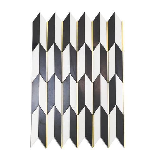 Polarized Brass Line White Thassos  Nero Marquina