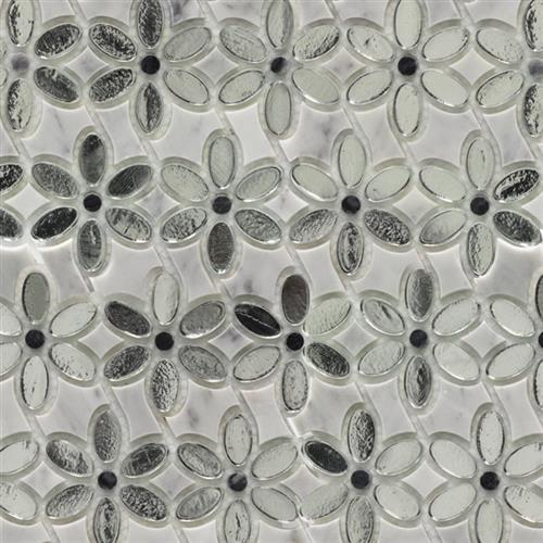 MJ Dahlia White Carrara  Gray Marble W/Silver Mirror
