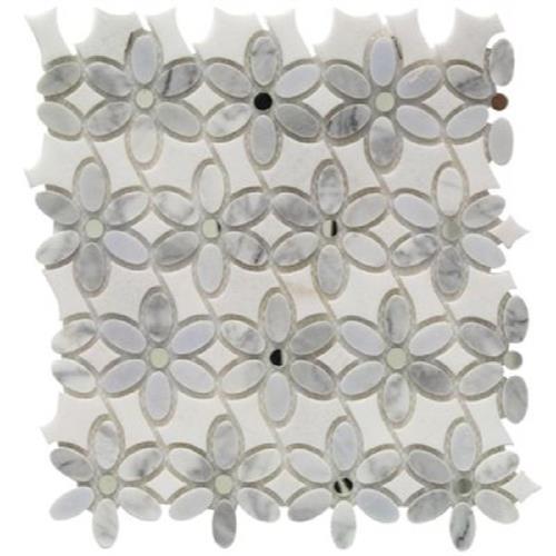 MJ Dahlia White Carrara  White Thassos W/Silver Mirror