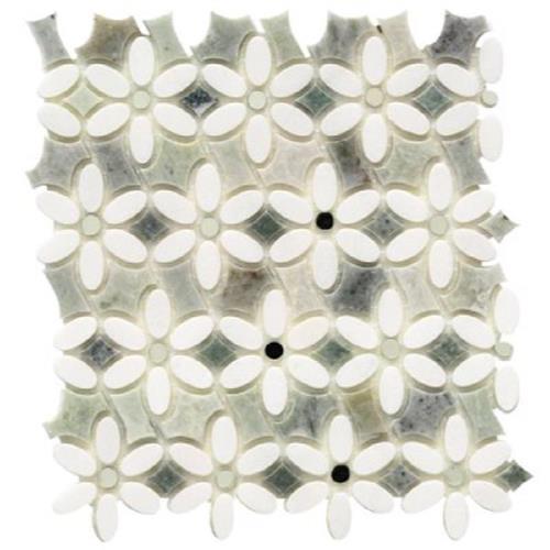 MJ Dahlia White Thassos  Ming Green W/Silver Mirror Dot