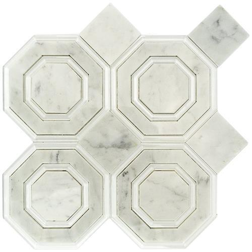 Omni Hex White Carrara And Super White Polished Line