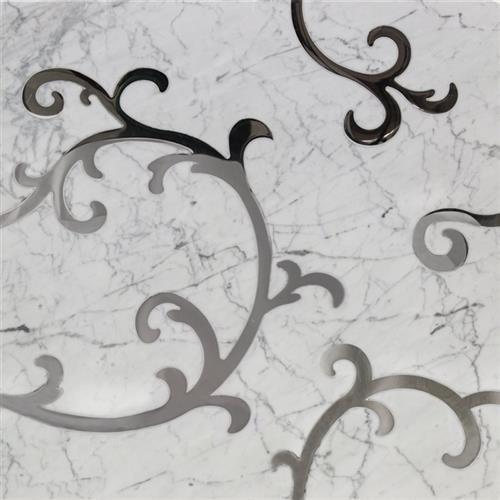 Inlay White Carrara And Stainless Steel Inlay