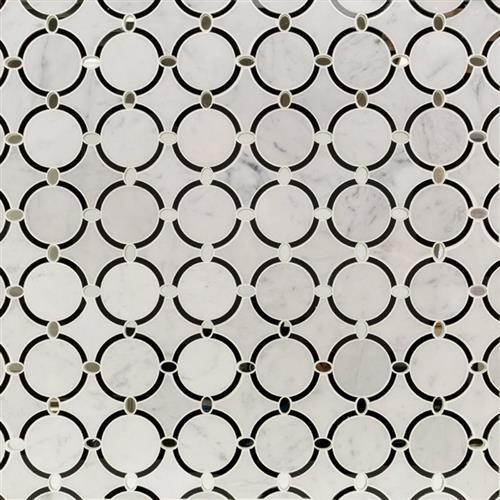 White Carrara With Nero Glass Circles And Silver Mirror