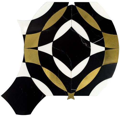 Kaleidoscope Mystique Nero Marquina W/ White Thassos And Brass