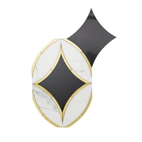 Kaleidoscope Oblique Calacatta Nero Marquina And Brass