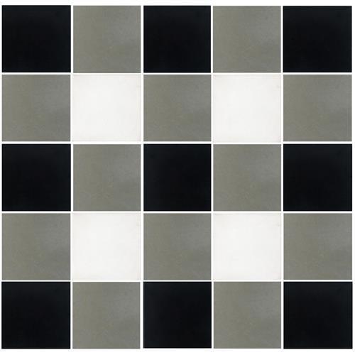 OWSI Cement Tile Collection Plaid 3Pc Black White  Nat Gray