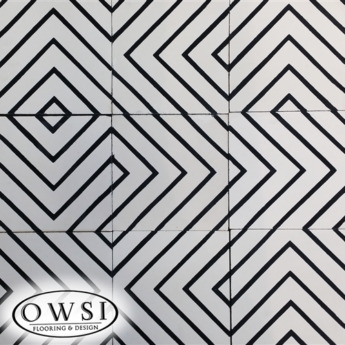 OWSI Cement Tile Collection Trax 01 Black Pattern  White Background