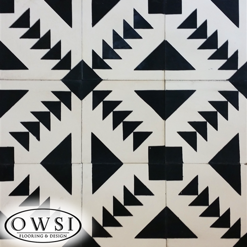 OWSI Cement Tile Collection Tulumn 01 Black Pattern  White Background