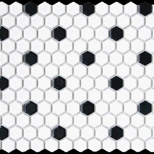 1x1 Hexagon Matte White W/ Black