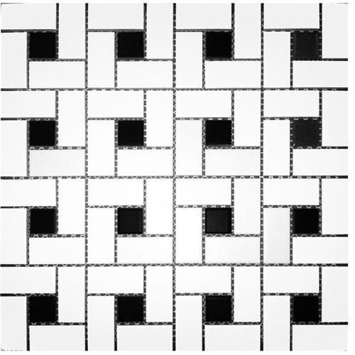 Pin Wheel White 1x2 W/Black 1x1 Dot White/ Black