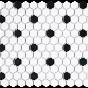GlassTile ChesapeakeMosaics CM-WB-1x1 WhiteBlackHexagon
