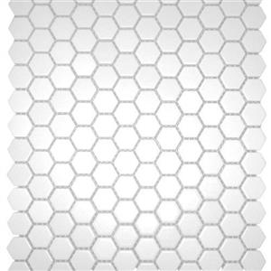 GlassTile ChesapeakeMosaics CM-WH-1x1 WhiteHexagon1x1
