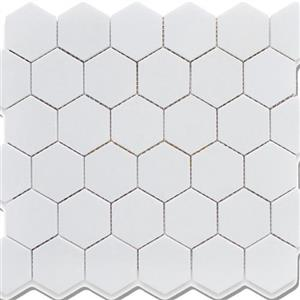 GlassTile ChesapeakeMosaics CM-WH-2x2 WhiteHexagon2x2