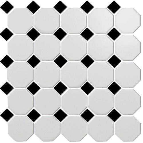 Chesapeake Mosaics White Octagon Black Dot