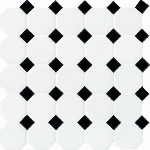 Octagon  Dot Matte White With 21 Black Gloss Dot 2X2 6501