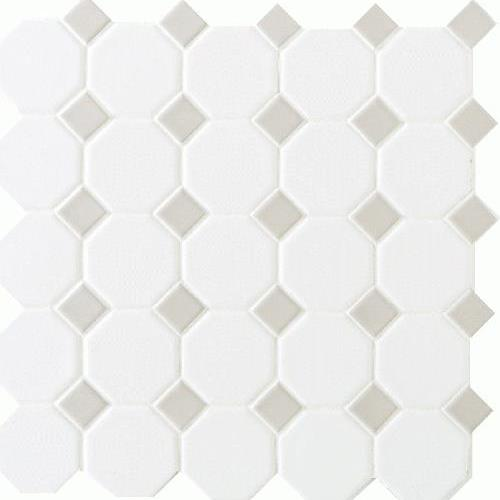 Octagon  Dot Matte White With 44 Gray Gloss Dot 2X2 6501