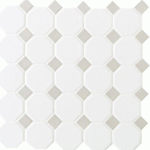 Matte White With 44 Gray Gloss Dot 2x2