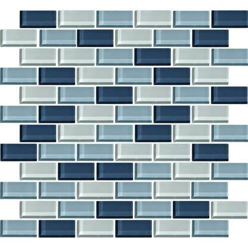 Color Wave Winter Blues Brick-Joint Mosaic CW27