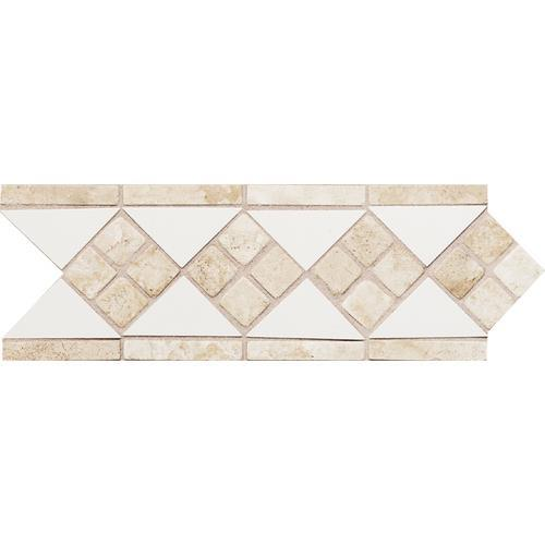 Fashion Accents 100 White Travertine LtBrGt4 X 12 Tumbled Stone Listello FA50