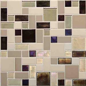 GlassTile CoastalKeystones CK89BLRANDPM1P SunsetCoveBlockRandomMosaic