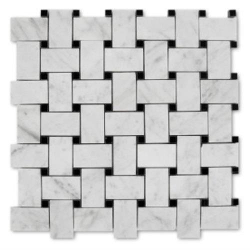 Natural Stone Mosaics Bianco Carrara - Black Dot