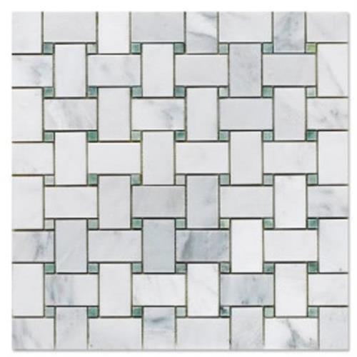 Natural Stone Mosaics Statuary Calacatta With Ming Green Dots