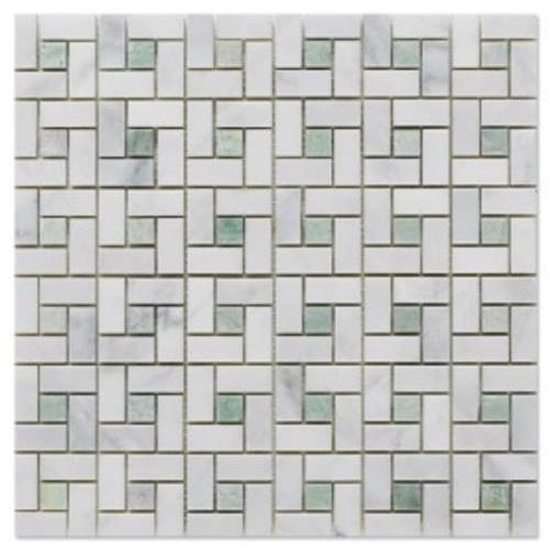 Natural Stone Mosaics White With Ming Green