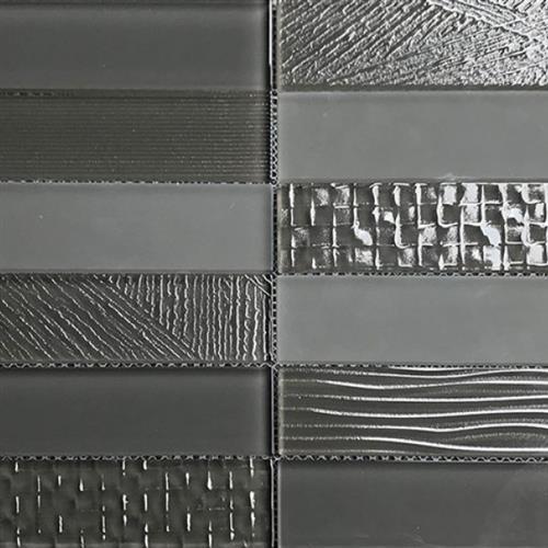 Glass Brix Ash 2X8 Stacked Mosaic