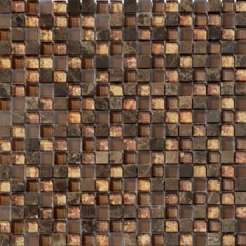 Glass Metro Amber Mocha Mix 5/8X5/8 Mosaic 12X12