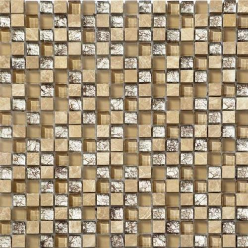 Glass Metro Brass Ecru Mix 5/8X5/8 Mosaic 12X12