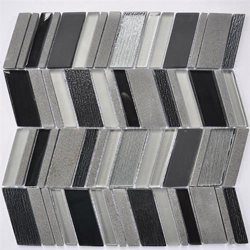 Glass Boutique Black 116X118 Marble Chevron