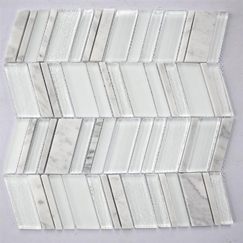 Glass Boutique White 116X118 Marble Chevron