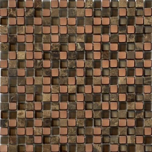 Glass Loft Copper Chocolate Mix 5/8X5/8 Mosaic 12X12