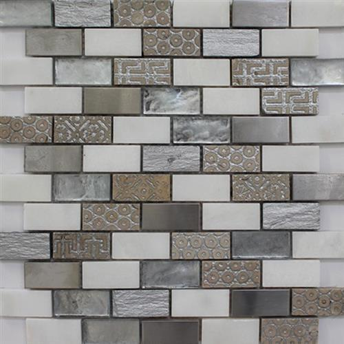Picture White  Stainless 1X2 Brickjoint Mosaic