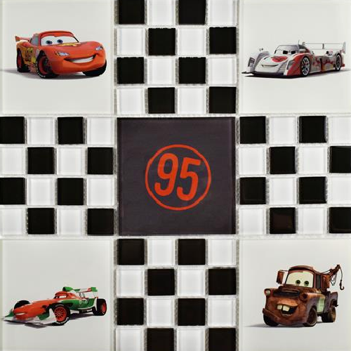 Cars Black And White Glass Mosaic Tile
