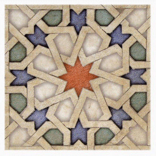 Eastern Star Pattern Fire 8X8 - Honed Durango