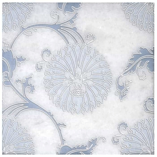 Eliana Pattern Dusty Blue 6X6 - Arctic White
