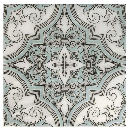 Ella Pattern Cool Water Blue 12X12 - Carrara