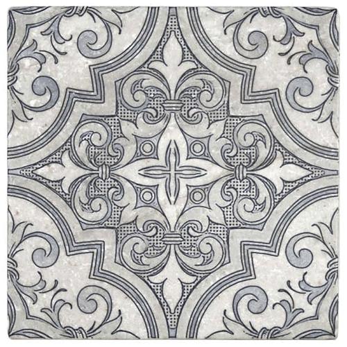 Ella Pattern Blizzard Blue 12X12 - Perle Blanc